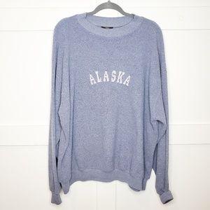Vtg Alaska Sweatshirt Blue Embroidered Teddy Bear